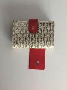 CAROLINA HERRERA WOMAN  WHITE CH LOGO CREDIT CARD CASE NWT