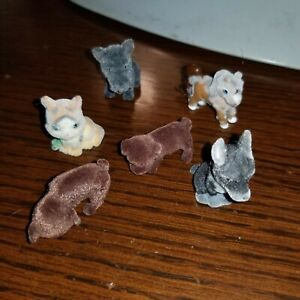 Vintage Miniature Tiny Flocked Dogs, Cat, Puppies, Horse