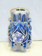 Blue Rose Unique handmade gift candle Hand Carved candles 5 inch/ 12cm