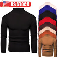 Men's Warm Cotton Warm High Neck Pullover Jumper Sweater Tops Turtleneck Shirts