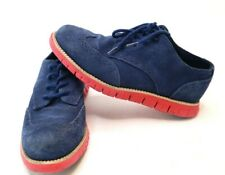 Cole Haan Grand.Os ZeroGrand Oxford Blue Suede Leather Youth Size 1.5 Shoe Nice!