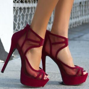 Womens Suede High Heels Stiletto Hollow Mesh Peep Toe Platform Shoes Nightclub