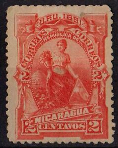NICARAGUA 1891 Sc#31 Allegorical figure Early Issue 2C red STAMP MH OG