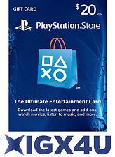 PSN Playstation Network Card Key 20 $ 20 USD Prepaid Card - PS3 PS4 - US Store