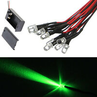 10 5mm LED Green 55cm Pre Wired Emitting Diode Lights 9 to12V And Battery Clip