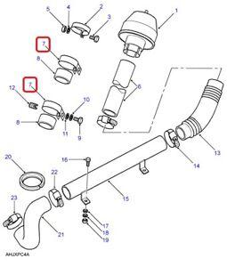 ( 1 )GENUINE LAND ROVER NRC7154 CLAMP-Tube, Raised Air Intake 1987-2006 Defender