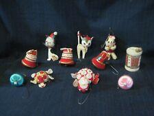 Vntg Hand Made Flocked Embelished Felt Animals Christmas Ornaments Japan Lot 11