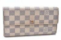 Auth Louis Vuitton Damier Azur Portefeuille Sarah Long Wallet N61735 LV A8062