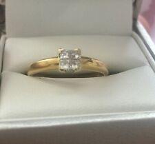 ERNEST JONES 18CT YELLOW GOLD PRINCESS CUT 0.20CT DIAMOND RING SIZE N BEAUTIFUL!