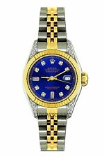 LADIES 26MM ROLEX WATCH 18K GOLD SS DIAMOND CASE WATCH WITH BLUE DIAL