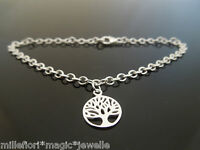 "3mm Sterling Silver Bracelet Or Ankle Chain Tree Of Life Charm 7"" 8"" 9"" 10"" 11"""