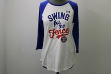 NEW Under Armour MLB Genuine Chicago Cubs Women Medium 3/4 Sleeve Baseball Shirt