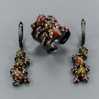 Black Opal Ring Silver 925 Sterling SET Handmade Jewelry set Size 6.5 /R137662