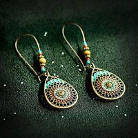 Vintage Retro Crystal Carved Hook Drop Dangle Ethnic Gypsy Women Earrings Gifts