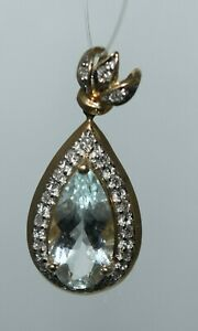 "14k Yellow Gold Aquamarine & Diamond Pendant 1"" lg ~ 1.76 grams ~ Scrap or Wear"