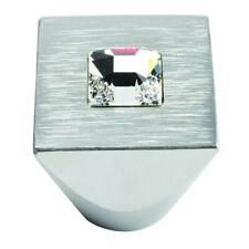 "Atlas Homewares 3195-MC Crystal Collection 1"" Crystal & Brushed Sq Cabinet Knob"