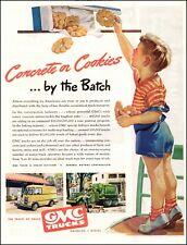 1945 Ad for Gmc Trucks Concrete to Coolies , Delivery Van Concrete Mixer 072620