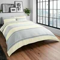 Duvet Cover Set - Super King Cotton Yellow Grey Striped Reversible Bedding Set