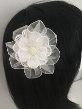 "Wedding Bridal Flowers Girls Ladies 3.5"" Ivory Lace & Pearl Hair Clip Fascinator"