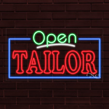 """Brand New """"Open Tailor"""" w/Border 37x20X1 Inch Led Flex Indoor Sign 35579"""