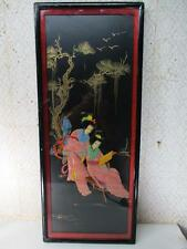 "Oriental Lacquer Wood Mother of Pearl Wall Hanging Panel Geishas 30""x12-1/2"""