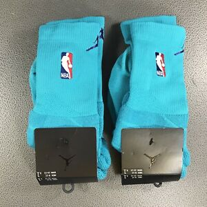 TWO PAIR Nike Air Jordan Authentic NBA Charlotte Hornets Socks Mens Large 8-12