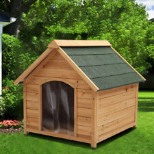 Wooden Dog Pet Kennel House Shelter Outdoor Apex Roof Timber Removable Floor