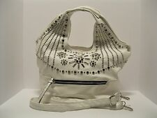 Purse White Leather Shiny Silver Studs Large Shoulder Bag Cross Body NWT L310