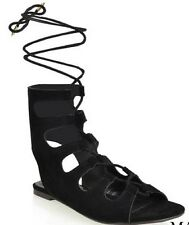 Maisie Ankle High Faux Suede Tie Up Open Toe Flat Gladiator Sandal Shoe Black