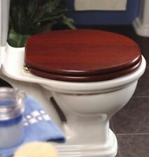 Platinum Mahogany Effect Toilet Seat with Brass Hinges