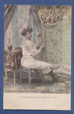 PROSTITUTE SMOKING WHILE WAITING FOR THE CUSTOMER FRENCH OLD POSTCARD 1910/20S