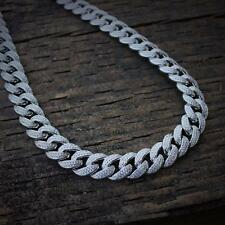 Mens Iced Out Lab Diamond White Gold Cuban Link Chain Necklace