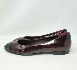 Chanel Cap Toe Burgundy Two Tone Leather CC Ballet Flats Shoes Sz 36.5 US 6