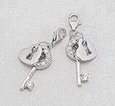 Solid Sterling Silver SPARKLING Heart Lock & Key Charm Bracelet Pendant Necklace