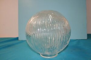 Light Shade. Clear Ridged Wavey Glass Globe Shade