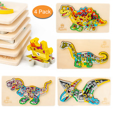 4 Pcs Wooden Jigsaw Puzzles for Kids Ages 3-5 Year Old  Learning Education Toys