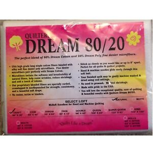 "Quilters Dream Craft Natural 80/20 Blend Select Quilt Batting 46"" x 36"""