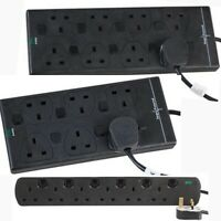 6 8 Socket SURGE PROTECTED 1m 2m 5m 10m Extension Lead SWITCHED Cable Way Black