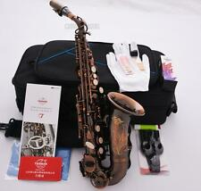 Professional TaiShan Red Antique Curved Soprano Saxophone High F# Bb Sax +Case
