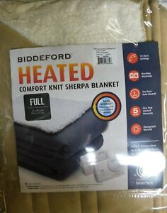 Biddeford Heated Comfort Knit Sherpa Blanket-full-2 Controllers-Tan