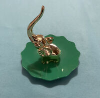 Green and Gold Tone Metal Elephant Ring Holder / Jewelry Bowl / Trinket Tray