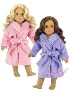 "Soft Doll Robe clothing sleepwear fits 18"" American Girl Doll Pink White Purple"