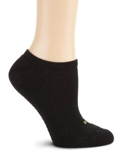 $25 Hue New Women'S 3-Pairs Pack Black Cushioned Cotton No-Show Socks One-Size