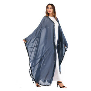 Islamic Women Open Cardigan Dubai Muslim Long Maxi Party Dress Loose Abaya Robe