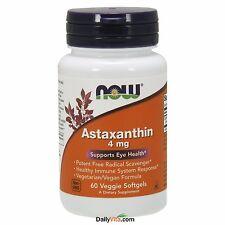 NOW Astaxanthin 4 mg 60 Veggie Softgels, Potent Antioxidant, FRESH, Made In USA