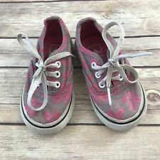 1691c14a90 VANS Girls Size 5 Toddler Gray Pink Hawaiian Floral Laced Canvas Shoes