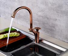 Brass Kitchen Tap Swivel Spout Mixer Faucet Chrome Rose Gold Black Deck Mounted
