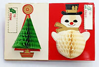 Vintage Christmas Gift Tags, 1960s Pop Up 3-D Tissue Paper 9 Gift Package Labels