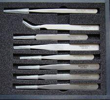 Boxed Set of 8 Bergeon Stainless Steel Tweezers