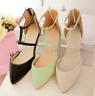 Hot Womens Roman Ankle Strap Pointed Toe Flat Sandals Back Zipper Ballet Shoes